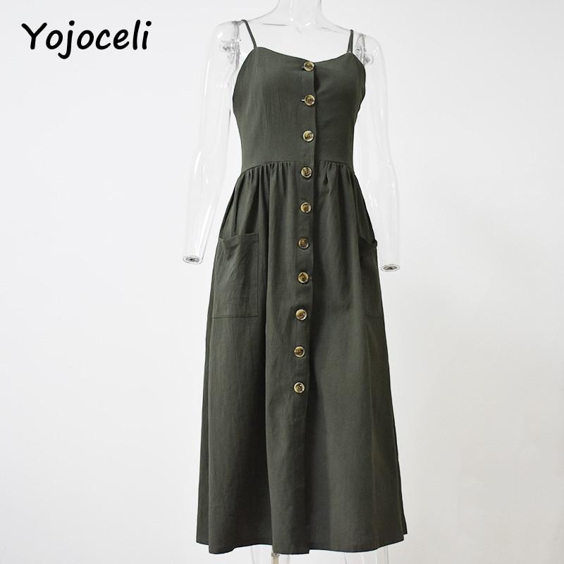 849af1455f7 Yojoceli Striped button sexy casual summer strap dress Long boho beach  pockets women sundress vestidos Elegant daily dess female