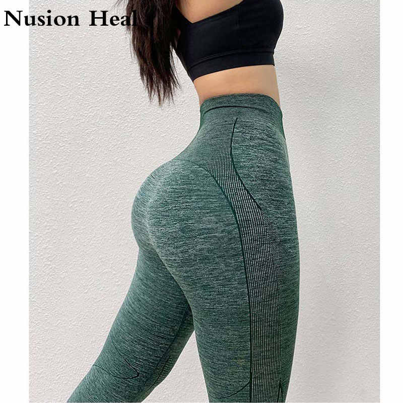 2019 Stretchy Fitness Gym Tights Tummy Control Yoga Pants High Waist Sport Impact Seamless Leggings Purple Running Pants Women