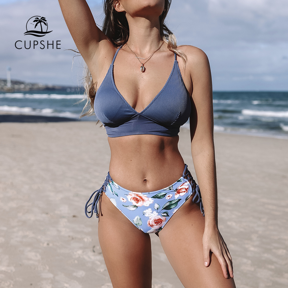 CUPSHE Sexy Blue And Floral Lace-Up Bikini Sets Women Boho V-neck Two Pieces Swimsuits 2019 Girl Beach Bathing Suit Swimwear