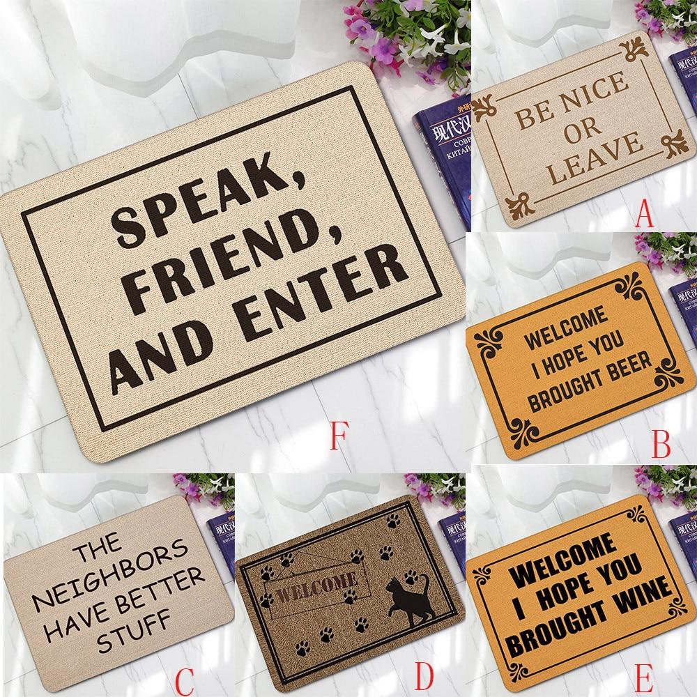 Letter Funny Welcome Home Entrance Floor Rug Non-slip Doormat Outdoor Mat Carpet