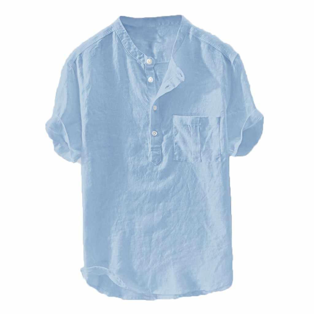 JAYCOSIN męski letni nowy czysty bawełniany konopny guzik z krótkimi rękawami moda duża bluzka koszula kołnierz męski z krótkim rękawem 26 lipca