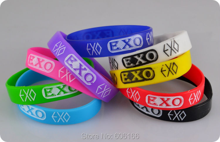 50pcs EXO Silicone Wristband Bracelets Bangle Korean S.M.Entertainment Company Mix color fashion jewelry Wholesale