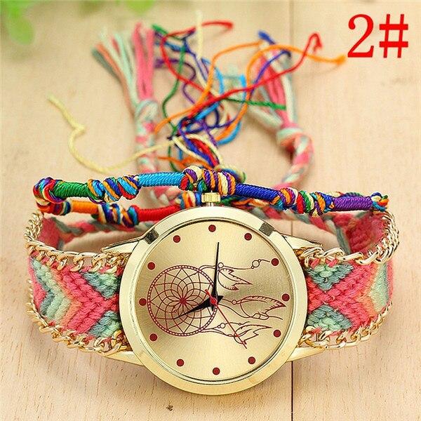 Dropshipping Handmade Braided Dreamcatcher Friendship Bracelet Watch Ladies Rope Watch Quarzt Watches Relogio Feminino