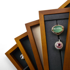 Image 5 - FANXI New Solid Wood Jewelry Display Tray Cream white & Dark Grey  Necklace Bracelet Ring Organizer Tray Jewelry Display Stand
