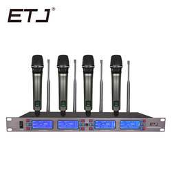 ETJ ET-4000 100 Channel Cordless Wireless Microphones System UHF Karaoke System four handheld or bodypack Stage home party