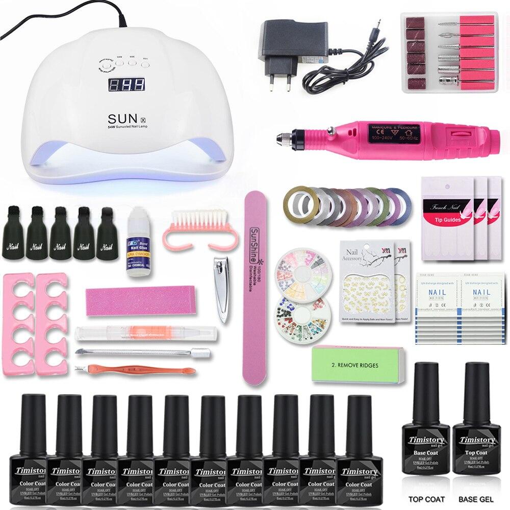 54/48/40/6W led lamp set nail dryer 10 colors uv gel polish 1 base 1 top nail set with Nail drill machine manicure tools