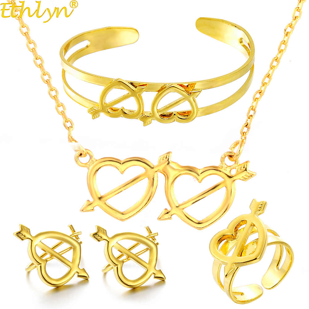 Ethlyn Cute Baby Girls Heart Imitation Gold Color Girls Four-pcs Jewelry Sets,Fashion Gold Anti- Allergy Kids Jewellery S315