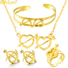 Ethlyn Cute Baby Girls Heart Imitation Gold Color Girls Four-pcs Jewelry Sets,Fashion Gold Anti- Allergy Kids Jewellery S315(China)