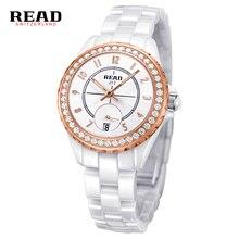 ЧИТАТЬ с Белой Керамической Водонепроницаемость Бизнес Моды Платье Женщины Наручные Часы Леди Пара Подарок Горный Хрусталь Случайные часы