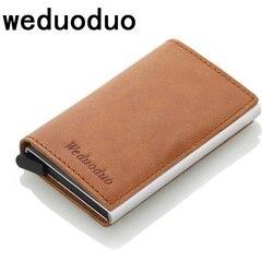 Weduoduo мужской блокирующий Rfid кошелек мини натуральная кожа бизнес алюминиевый кредитный держатель для карт кошелек автоматический всплыва...