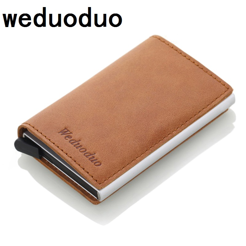 Weduoduo Men Blocking Rfid Wallet Mini Genuine Leather Business Aluminium Credit Card Holder Purse Automatic Pop Up Card Case