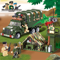 Enlighten Military Educational Building Blocks Toys For Children Gifts War Hero Soldier Truck Weapon Compatible Brand