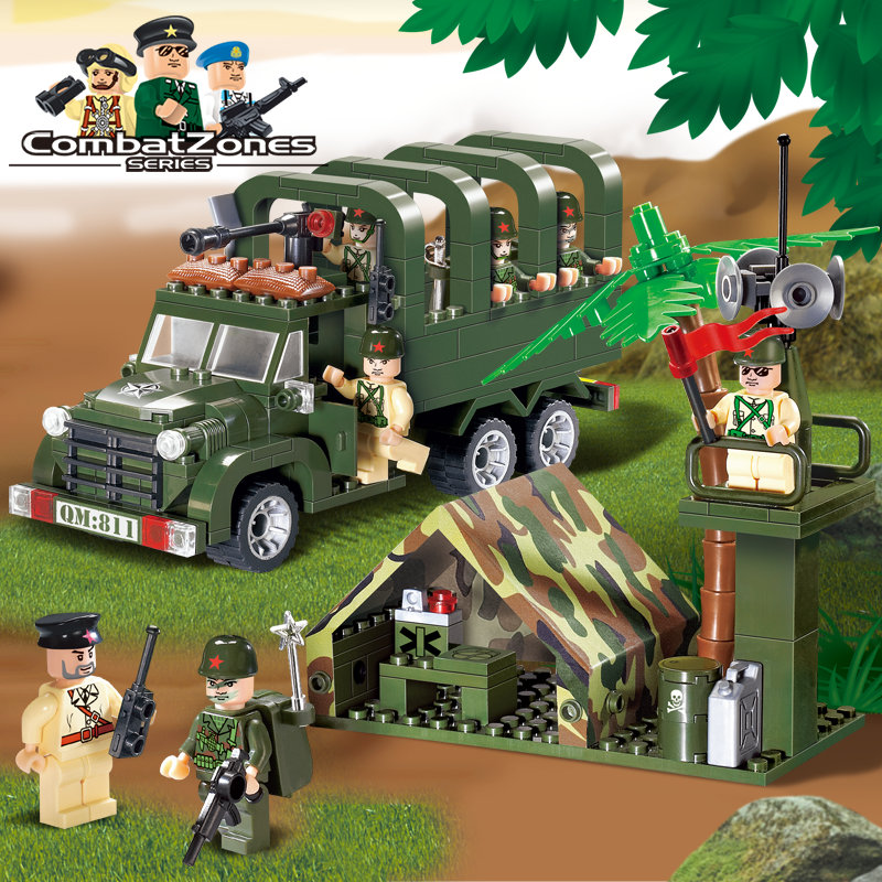Enlighten Military Educational Building Blocks Toys For Children Gifts War Hero Soldier Truck Weapon Compatible Brand 128pcs military field legion army tank educational bricks kids building blocks toys for boys children enlighten gift k2680 23030