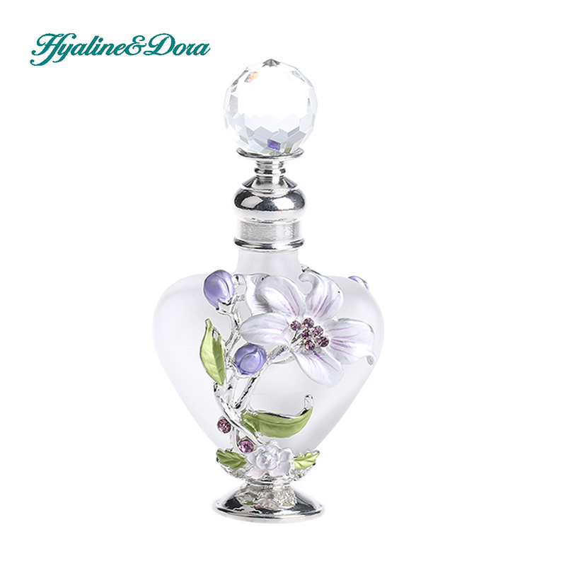 9ml Vintage Lily Design Empty Refillable Glass and Metal Perfume Container Bottle Oil Bottle Home Decoration Collection alcohol and liquid container bottle white 180ml