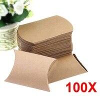 Yeni Kağıt Parti Şeker Kutuları 100 Adet Kraft Kağıt Yastık Şeker Kutusu Düğün Favor Hediye Parti Kaynağı [NS] BS