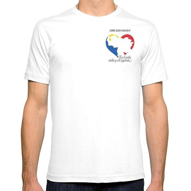 aef5e3d518d T Shirt Summer Men'S Short Venezuela. En El Pecho, Arriba Y A La Izquierda  Crew Neck Printed Tee