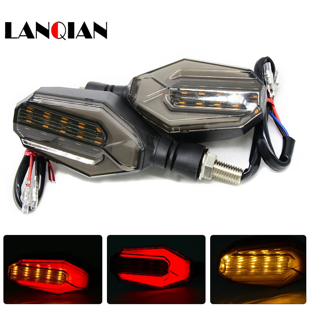 1 Pair Motorcycle Flasher LED Turn Signal Lamp Blue & Amber Blinker Light Dual Color 12 Led Motorbike Indicator Light