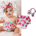 Newborn Infant Toddler Baby Girl clothes Summer Watermelon Pattern Tops + Headband 2pcs/set Outfits baby clothing