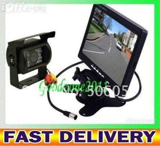 "NEW 7"" LCD Monitor+18 IR Reverse Camera Car Rear View Kit  car camera free 10m cable BUS parking sensor"
