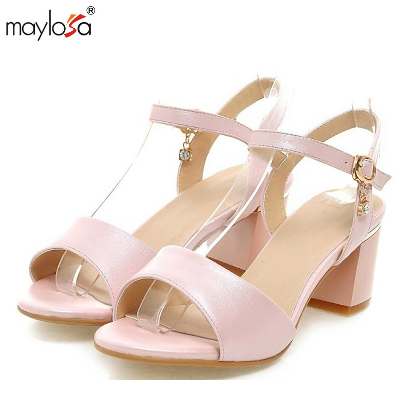 ФОТО Women Sandals 2017 Summer Shoes Sandals Size 9 10 Open Toe Ladies Chunky High Heels Sandals White Pink Green Shoes 34-43