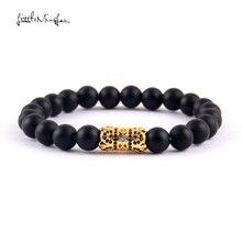 WML 8mm bead men bracelet pave Luxurious black CZ Titanium Steel charm bracelets & bangles for jewelry