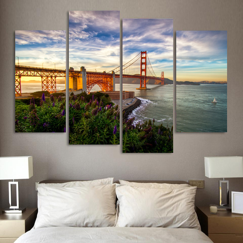 4 Pieces Mordern Wall Picture Canvas Painting Golden Gate Bridge Photo Home Decor Print Decoration Art For Living Room Unframed In Calligraphy