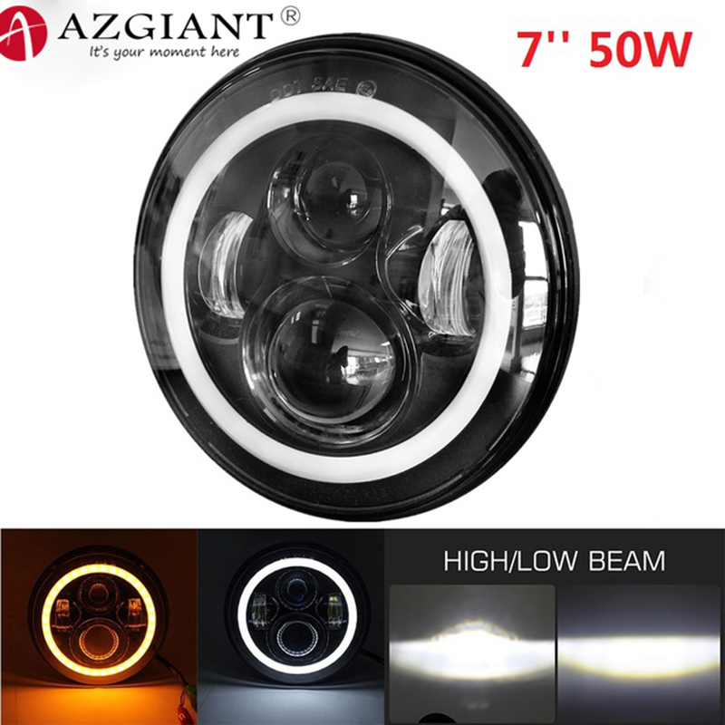 AZGIANT 1PCS 6500K IP65 Waterproof 7inch 50W Angle Eye LED Headlight CREE Chip LED Headlamps Led Driving Light for 12V 24V Cars все цены