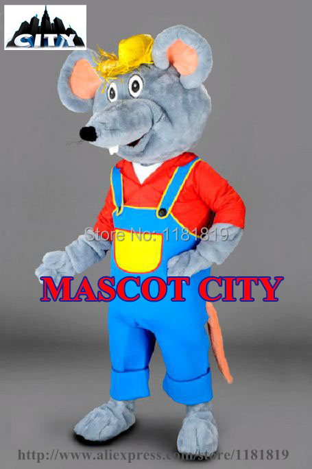 MASCOT CITY Custom Farmer Mouse Mascot Costume Adult Size Cartoon Character Rat Mascotte Mascota Fancy Dress MC71340