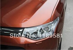 Dla Mitsubishi Outlander 2013-2015 ABS Chrome światło główne pokrycie wykończenia!