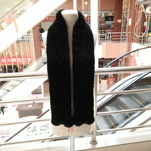 New hot sale real fur scarf women Rex rabbit fur scarf Natural Rabbit Fur Scarves long scarf warm fur muffler 150cm