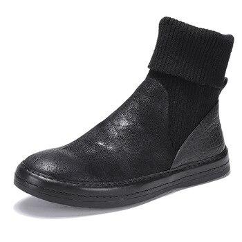 Botas De Punto Superior | Nuevas Botas De Hombre De Cuero Retro Мартин Boots Botas Altas Calcetines De Punto Botas De Tobillo Martin Botas