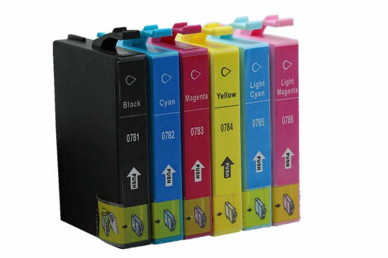 W celu uzyskania T0781 E-0781 T0786 wkłady atramentowe dla Stylus Photo R260 R280 R380 RX580 RX595 RX680 Artisan 50
