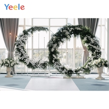 Yeele Flower Wreath Pattern Window Frame Curtain Baby Photography Backgrounds Customized Photographic Backdrops for Photo Studio