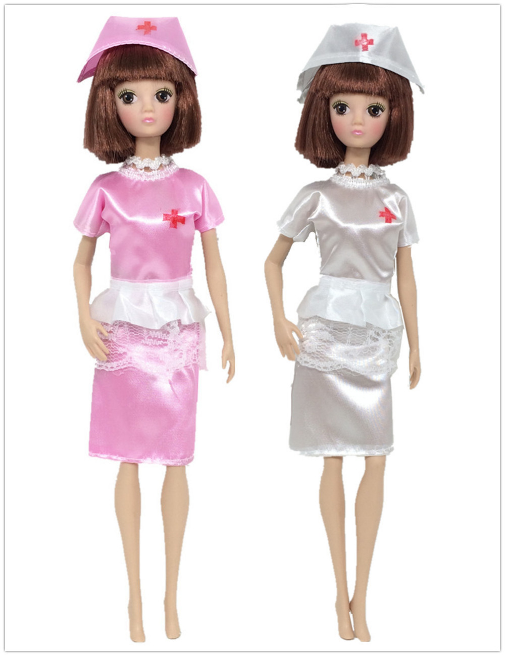 6cc63230a9 NK 2 Set Lot Doll Toys Fashion Clothing Uniform + Hat White Angel Female  Nurse