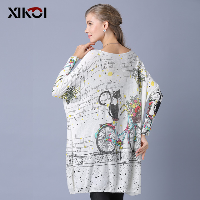 XIKOI Woman Oversize Sweater Winter Long  Cat Bicycle Print Casual Coat Batwing Sleeve Bicycle Cat  Print Pullovers Clothing 2
