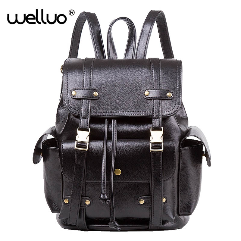 Latest Women Vintage Leather Backpack Fashion Feminine Casual School Bags For Teenage Girls Female Preppy Travel mochila XA864B