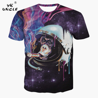 YK UNCLE Brand Space Galaxy Astronaut Orangutan Print T Shirt Men Women 3D T Shirt Fashion