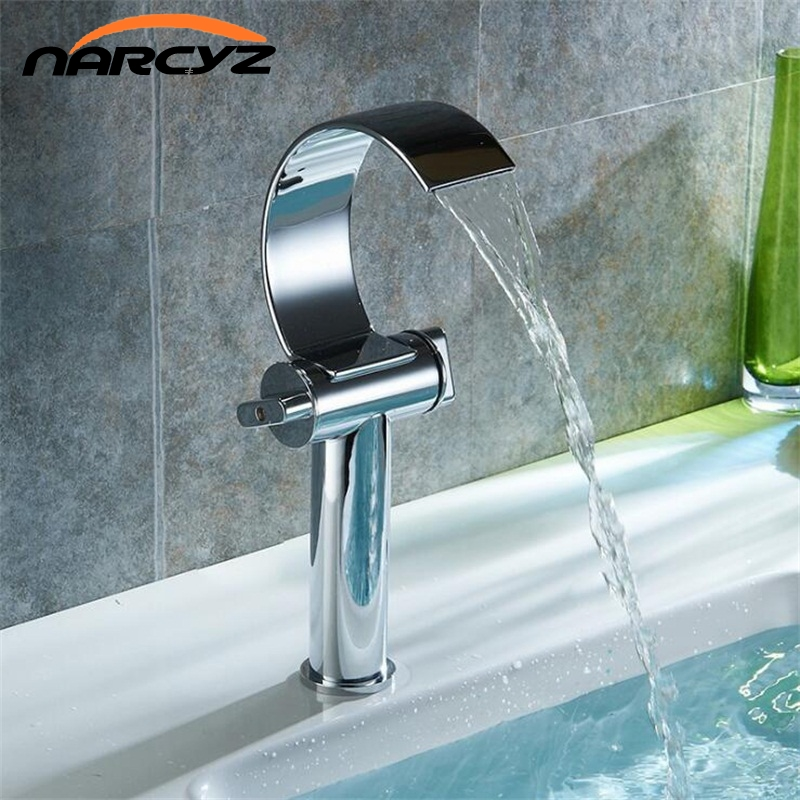 Narcyz New Style Basin Faucets Bathroom Waterfall Faucet Chrome Plated Dual Handle Brass Basin Mixer High Quality XT533 fashion europe style high quality brass