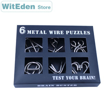 цена на 3D Metal Wire Puzzles 6PCS/Sets Intelligence Buckle Classic Knot 9 Ring Interlocking IQ Brain Teaser Antistress Lock Game Toys