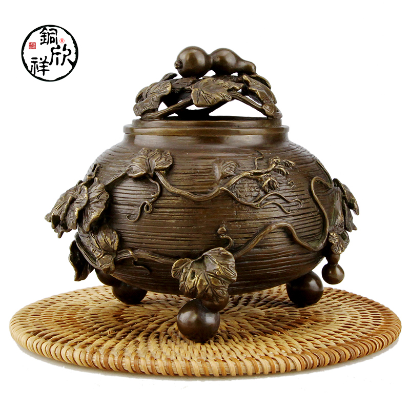 Xinxiang copper incense burner stove gourd aromatherapy Xiang Tan Buddhist furnishings 10 china brass copper foo dogs lion and dragon flower incense burner statue