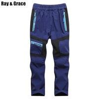 RAY GRACE/Детские быстросохнущие брюки для походов и походов, непромокаемые Светоотражающие Брюки для мальчиков и девочек, детские брюки для ал...