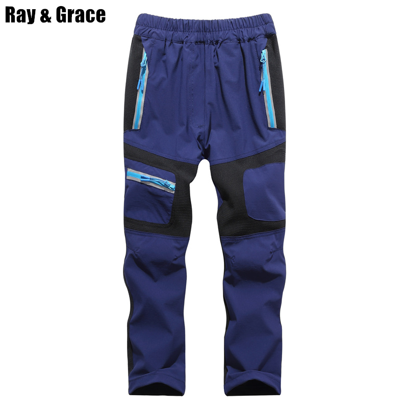 RAY GRACE Kids Quick Dry Pants Outdoor Hiking Trekking Trousers Waterproof Reflective Boys Girls Travel Climbing Pants Children