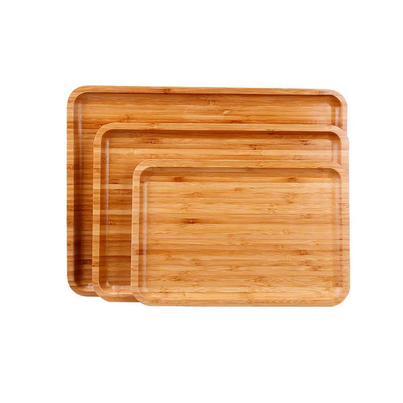 รอบ/สี่เหลี่ยมผืนผ้า/สแควร์ไม้ไผ่ Pan ผลไม้จานจานรองถาดชาขนมหวานอาหารค่ำแผ่นขนมปัง