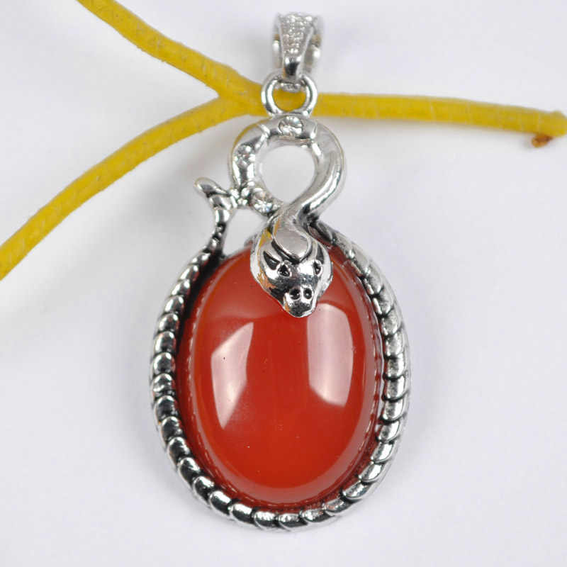 Natural Red Carnelian Bead GEM Pendant Snake Animal Jewelry For Gift S1140