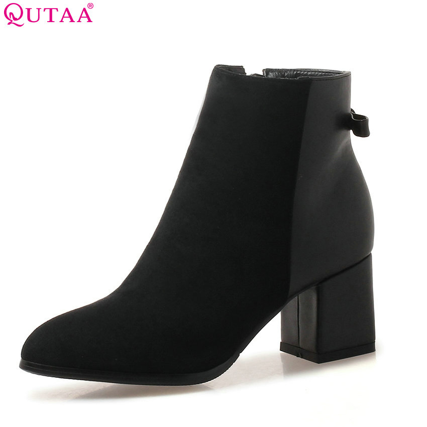 QUTAA 2019 Women Ankle Boots Fashion Winter Boots Square High Heel Flock Zipper Elegant Women Shoes Women Boots Big Size 34-43 цена