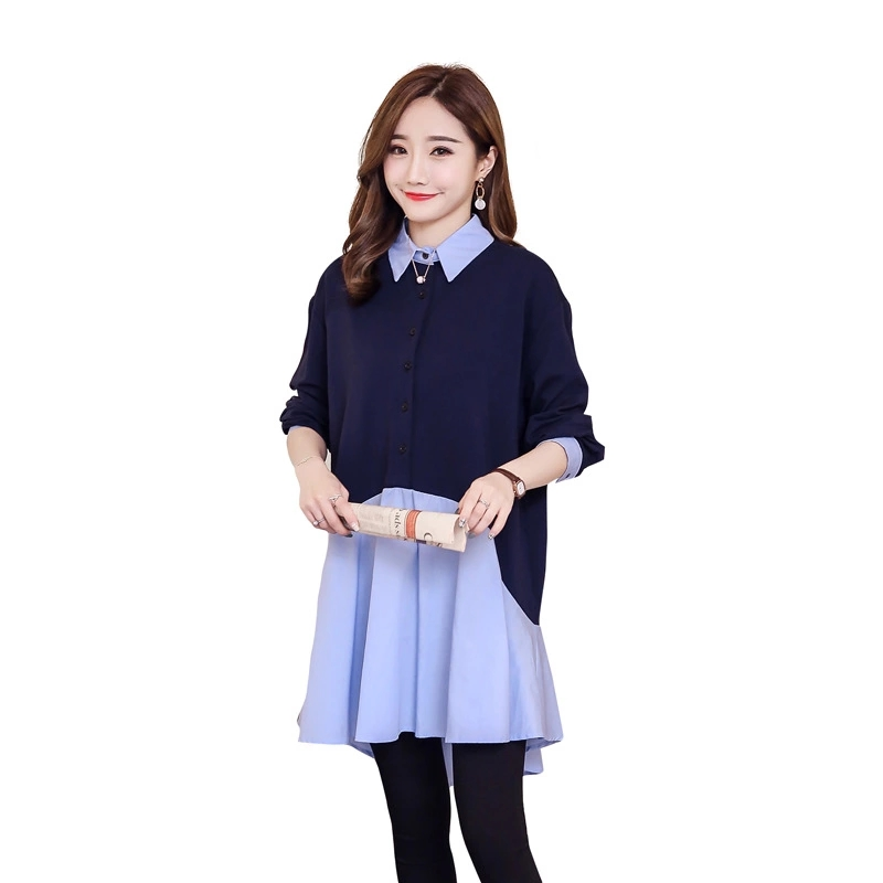 Pengpious 2019 Korean style plus size pregnant women dress long sleeve turn-down collar autumn maternity dress patchwork shirts girl