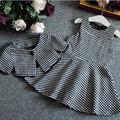 new 2015 autumn winter Houndstooth vest dress+cape 2pcs girls dress sets roupas infantis menina suit 2~7 age children clothes