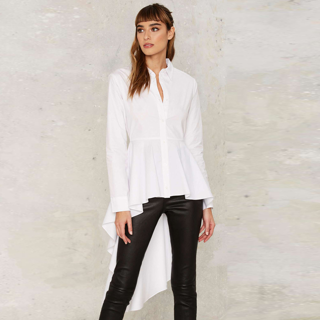 2a55e1aaac0 Long sleeve white peplum shirts with ruffle hem women button down high low  tops long ladies vintage fishtail blouses for work