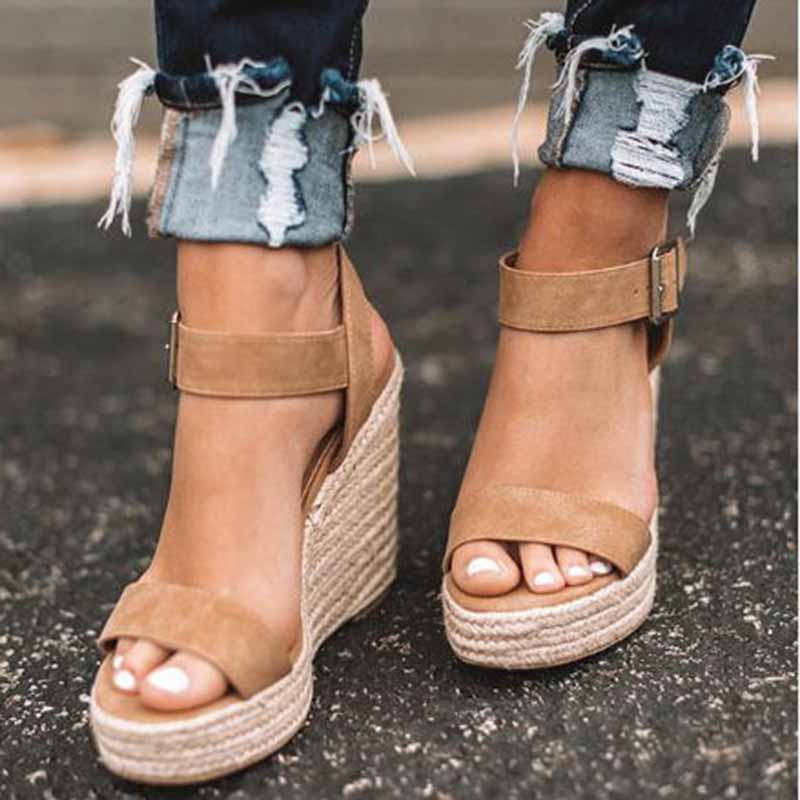 Platform Sandals Shoes Espadrilles Heel Ankle-Buckles High-Wedges Peep-Toe Women