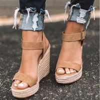 Femmes chaussures plate-forme sandales femmes Peep orteil haut compensées talon cheville boucles Sandalia Espadrilles femme sandales chaussures